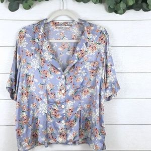 Zara • Satin Floral Button Up Collared Crop Shirt